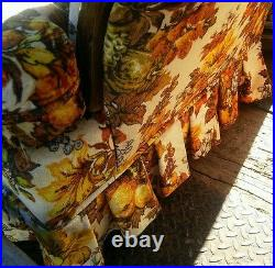 008 Vintage Deville Furniture Funky Floral Fruit Pattern 1970s 1980s Sofa Couch
