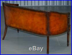 130cm Wide Restored Hand Dyed Whisky Brown Leather Regency Chesterfield Sofa