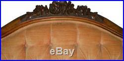 17669 Victorian Rose Carved Civil War Era Sofa