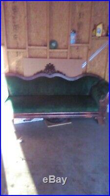 1800's Green Velvet Victorian Sofa