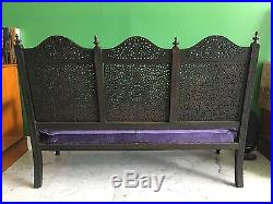 + 1830s MASTERPIECE ANGLO-INDIAN SETTEE! HAND-CARVED SOLID ROSEWOOD! ASIAN SOFA
