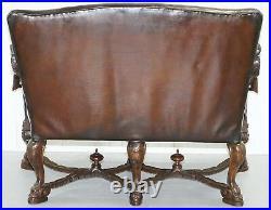 1850 Palatial Venetian Carved Walnut Leather Bench Valentino Panciera Besarel