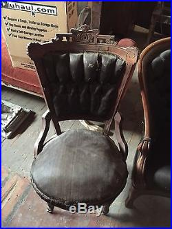 1890 Antique Horsehair Setee Couch And Setee Chair