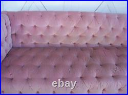 1890's Oak English Barley Twist Arm Chesterfield Sofa Blush Velvet Button Tufted
