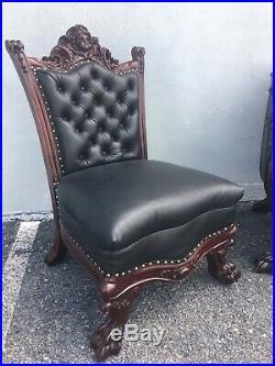 1890s 2-piece Karpen Parlor Set. Tufted Black Leather! Carved/horner/victorian