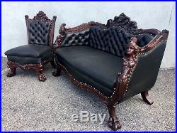 1890s Karpen Parlor Set. Carved Mahogany Sofa/settee. Genuine Leather. Horner