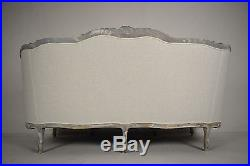 1900's French Louis XVI Sofa or Settee with Painted Carved Frame & New Fabric