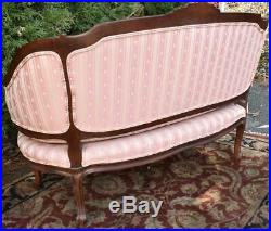 1920s French Louis XV Carved Mahogany small Love-seat Sofa, spring seat