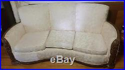 1930's Sofa and Chair Antique Vintage Carved Wood Trim Monomade by Monroe