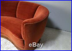 1930s Danish Art Deco 3 seat red velvet sofa