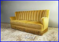 1930s Danish Art Deco 3 seat yellow velour sofa