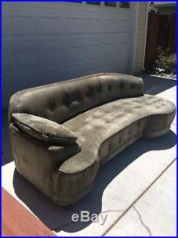 1940's Vintage Tufted 91 Chenille Curved sofa