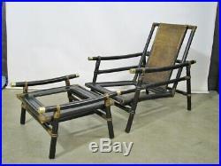 1950s Ficks Reed Bamboo Sofa, Armchair & Ottoman Far Horizons by John Wisner