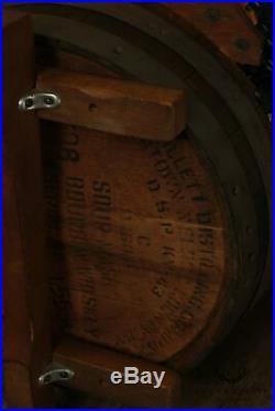 1960's Vintage Oak Tennessee Whiskey Barrel Sofa, Black Vinyl