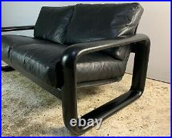 1960s Danish mid century modern leather 2 seat sofa