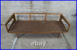 1960s Mid Century Modern Yugoslavian Walnut Lounge Sofa Daybed Couch MCM 79