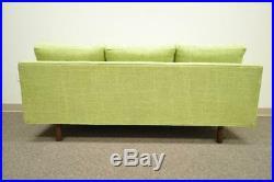 1960s Vintage Mid Century Modern Green Square Frame Upholstered Modernist Sofa