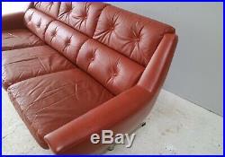 1960s mid century Danish tan leather 3 seat sofa