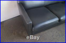 1970s Danish mid century leather sofa with brushed steel legs