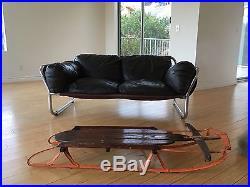 1970s Leolux Loveseat Vintage Leather & Chrome Sofa $699
