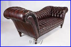 1970s Vintage Henredon Chesterfield Tufted Leather Sofa Distressed Finish