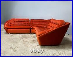 1970s mid century modern velour sectional sofa by Vono