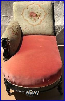 19th C. Aesthetic Period Herter Brothers Pink Velvet & Needlepoint Recamier