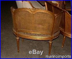 19th C. French Louis XVI Cane Corbeille Settee Chair