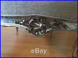 19th C. Gilt French Louis XV Chaise Lounge with Silver Leafed Walnut