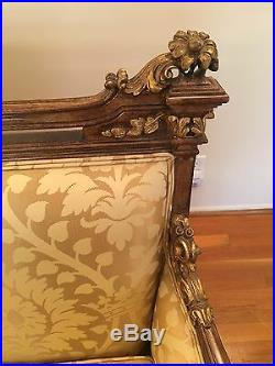 19th C. Three Pieces Unique Wood And Gilt Louis XVI Sofa and Chairs