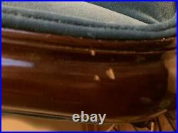 19th Century American Regency Grand Salon Hand Carved Mahogany Eagle Sofa Blue