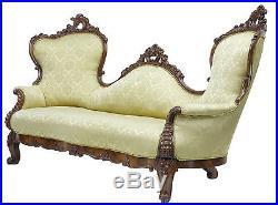 19th Century Carved Mahogany Victorian Sofa