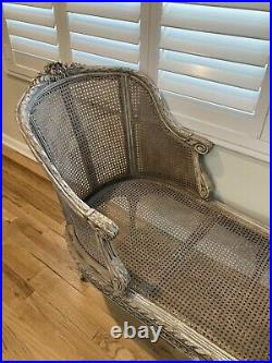 19th Century French Louis XVI Style Gray Painted Antique Chaise Settee