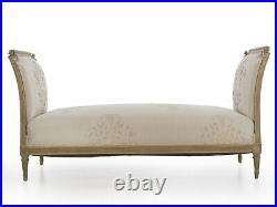 19th Century French Louis XVI Style Gray Painted Antique Daybed Sofa