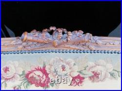 19th Century Victorian Louis XVI French Walnut Settee Aubusson Fabric