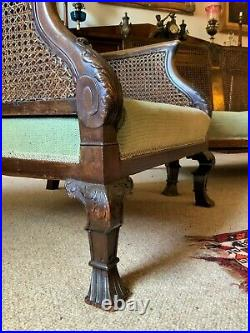 19thc Antique Mahogany Upholstered 3 Piece Bergere Sofa Suite Armchairs Settee