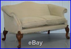 1 Of 2 Georgian Walnut Irish Hump Camel Back Sofas Highly Carved Oversized Legs