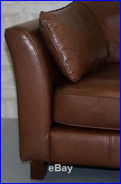 1 Of 2 Rrp £2699 Stunning Heritage Brown Leather Marks & Spencers Barletta Sofas