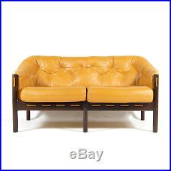 1 of 2 Retro Vintage Danish Arne Norell Coja Leather 2 Seat Seater Sofa 60s 70s