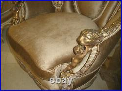 $25k Royalty 3pc Italian Antique Hand Carved Cherubs Saloon Sofa/chairs Set