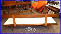 2 Mid Century Danish modern walnut platform sofa couch daybed set Eames Hvidt