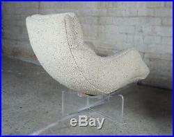 2 Vladimir Kagan 1968 Cosmos Lounge Chairs Lucite Swivel Wool Mid Century Modern