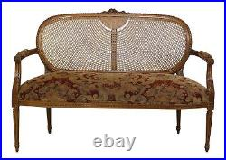 32154EC FAIRFIELD Cane Back Upholstered Seat French Settee