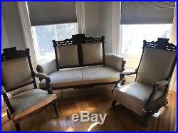 3 Piece Antique Victorian Eastlake Settee Set Carved Parlor Set 2 side chairs
