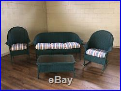 3 Piece Lloyd Loom Wicker Outdoor Or Indoor Wicker Suite