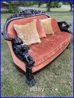 3-piece Carved Mahogany Karpen Griffin Parlor Set. Horner Era. Sofa/settee/ 1890