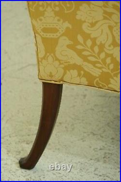 49325EC George III Style Scalamandre Upholstered Walnut Loveseat Sofa
