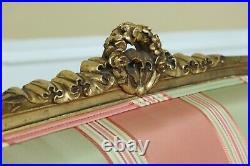 50467EC Vintage French Louis XVI Gold Gilt Settee Loveseat