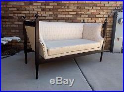 56 mid century REGENCY style finial top CUSTOM velvet art deco sofa love seat