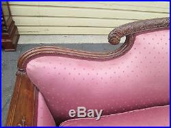 57458 Antique French Country Mahogany Sofa Couch Chair Goose Down Seat QUALITY